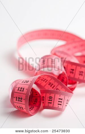 Pink metric tape measure for sewing
