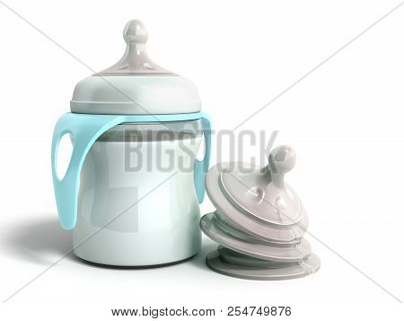 The Baby Bottle With Milk 3d Render On White