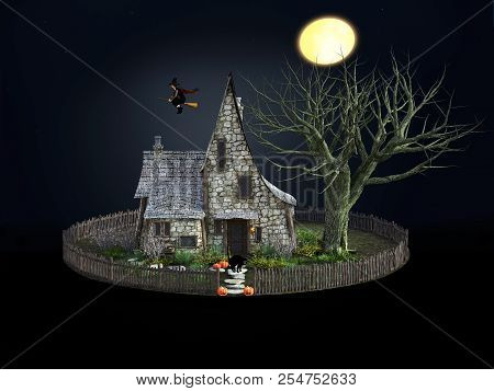 3d Rendering Of A Spooky Witch House At Night With Halloween Pumpkins, Black Cat, A Flying Witch And