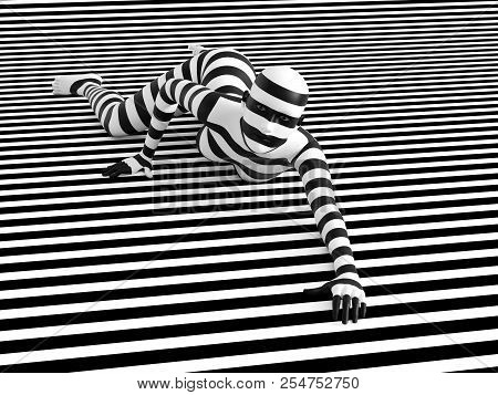 3D Rendering Of Person Breaking The Pattern.