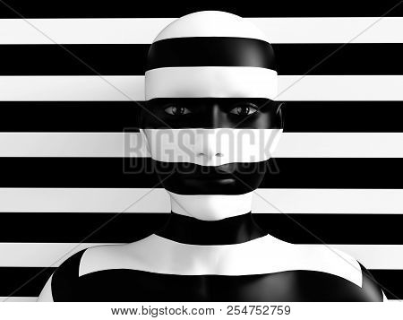 3d Rendering Of A Womans Face Trying To Blend In With The Black And White Striped Background, Afraid