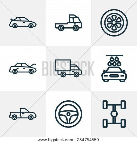 Auto Icons Line Style Set With Tie, Hood, Wheelbase And Other Crossover Elements. Isolated Vector Il