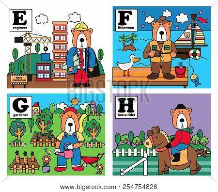 Animal Alphabet, Bear Career Set With Engineer, Fisherman, Gardener, And Horse Rider, Illustration,