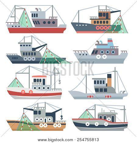 Fishing Ocean Boats. Commercial Fisherman Ships Isolated Vector Set. Nautical Fishing Vessel, Shippi