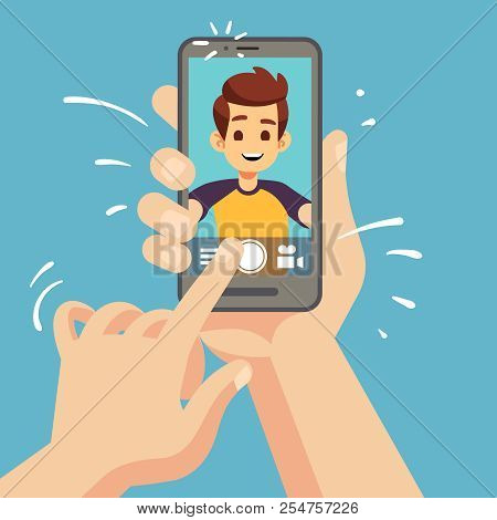 Young Happy Man Taking Selfie Photo On Smartphone. Male Face Portrait On Cellphone Screen. Cartoon V