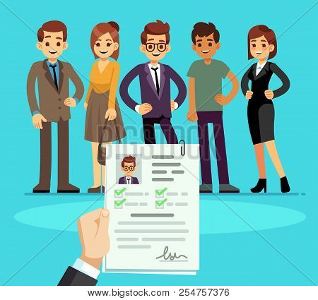 Recruitment. Recruiter Choosing Candidates With Cv Resume. Human Resource And Job Interview Vector C