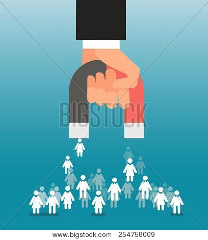 Lead Generation. Magnet In Hand Attracts Consumers. Sales And Leads, Marketing Vector Concept. Magne