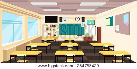 Cartoon Empty Classroom, High School Room Interior With Desks And Blackboard. Education Vector Conce