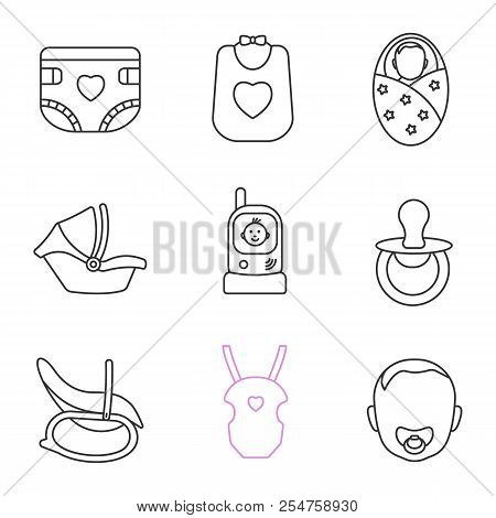 Childcare linear icons set. Baby diaper, bib, newborn, car seat, radio nanny, pacifier, rocking chair, carrying bag, child face. Thin line contour symbols. Isolated vector outline illustrations poster