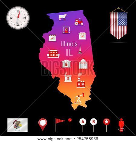Illinois Vector Map, Vector & Photo (Free Trial)   Bigstock on