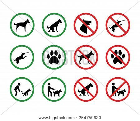 Dog Forbidden Signs. Dogs Permission And Restriction Silhouette Park Vector Signage. Illustration Of