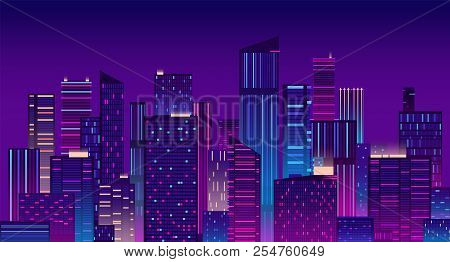 Night City. Colorful New York Urban Background. Modern Cityscape Panorama Vector Illustration. City