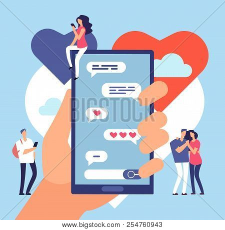 Online Dating. Friendly Internet Communication. Romantic Dating Site Application Vector Concept. Onl