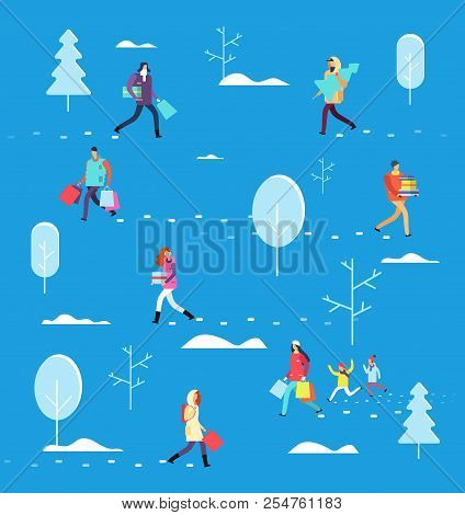 People On Winter Holiday. Person Carrying Shopping Bag, Gifts And Christmas Tree. Christmas Eve Vect