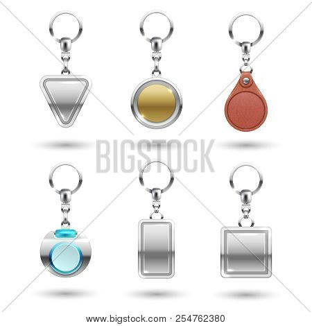 Realistic Vector Silver, Golden, Leather Keychains In Different Shapes Isolated On Transparent Backg