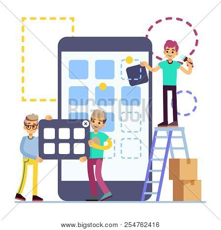 People Developing Cellphone Ui Design. Mobile Phone App Technology Vector Flat Concept Isolated On W