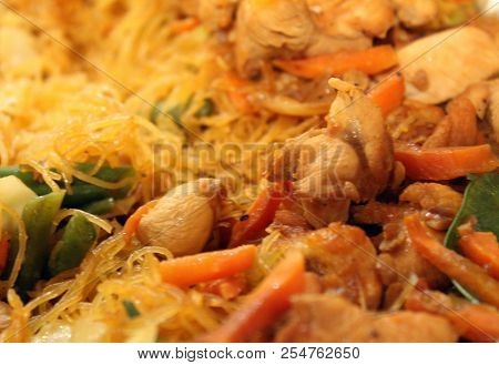 Plate Of Filipino Pancit Noodles Meat Vegetable