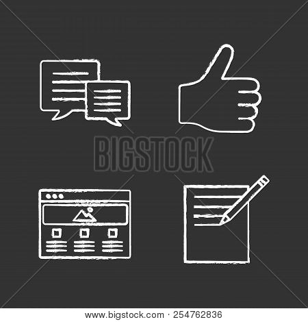 Information Center Chalk Icons Set. Chatting, Taking Notes, Thumbs Up, Web Page. Isolated Vector Cha