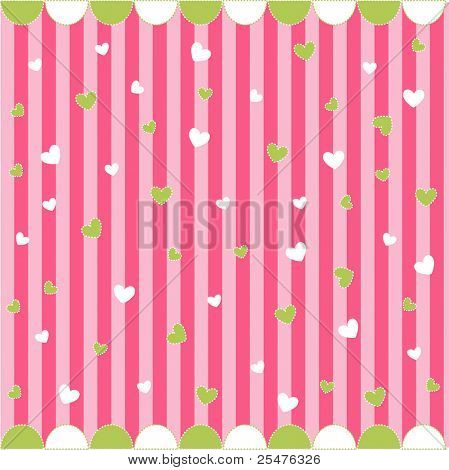 Cute seamless pattern with little hearts , baby card