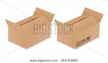 Set Of Two Vector Realistic Illustration Of Carton Delivery Box With Open Lid And Transport Symbols