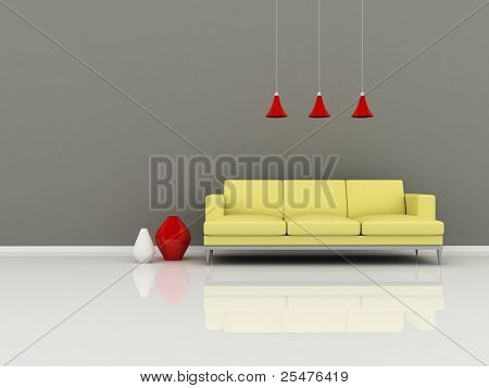 Interior of the modern room, grey wall and yellow sofa