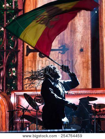 Bontida, Romania - July 18, 2018: Jamaican reggae artist Damian