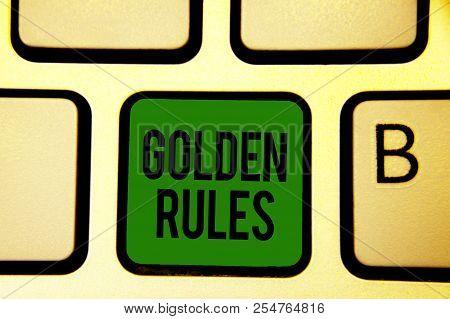 Word writing text Golden Rules. Business concept for Basic principle that should be followed Important Principle Keyboard green key Intention create computer computing reflection document. poster