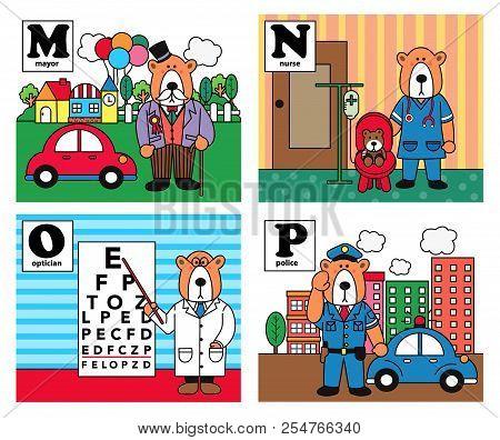 Animal Alphabet, Bear Career Set With Mayor, Nurse, Optician, And Police, Illustration, Vector
