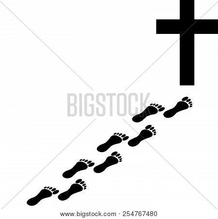 Christian Cross With Foot Print. Faith And Religion. Vector Illustration