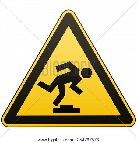 Caution Unobtrusive Obstacle. Safety Sign. Measures To Prevent Danger In The Workplace. Yellow Trian