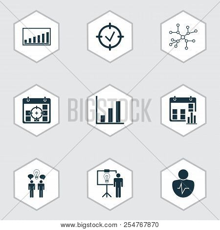 Management Icons Set With Business Goals, Statistical Report, Project Statistics And Other Approved
