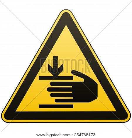 Caution, Hands May Be Injured. Attention Is Dangerous. Warning Sign. Security Measures. Yellow Trian