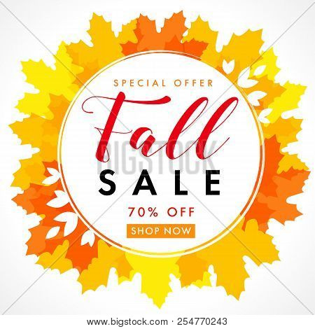 Fall Sale With Text 70% Off Special Offer In Frame From Bright Yellow Maple Leaves. Autumn Sale Back
