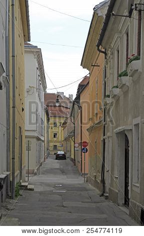 The Narrow Street In Old City Of Gyor