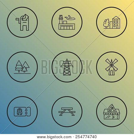 Public. Skyline Icons Line Style Set With Power Tower, Pizzeria, Transport Ticket And Other Skyline
