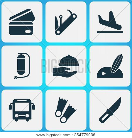 Tourism Icons Set With Waiter, Credit Card, Oxygen Cylinder And Other Sharp Elements. Isolated Vecto
