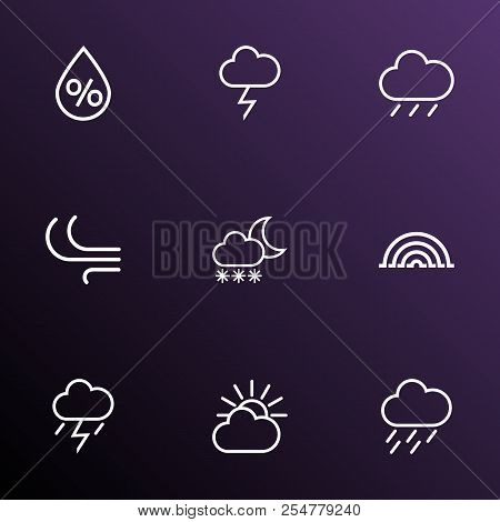 Climate Icons Line Style Set With Blizzard, Rainstorm, Lightning And Other Snowfall Elements. Isolat