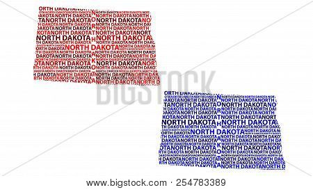 Sketch North Dakota (united States Of America) Letter Text Map, North Dakota Map - In The Shape Of T