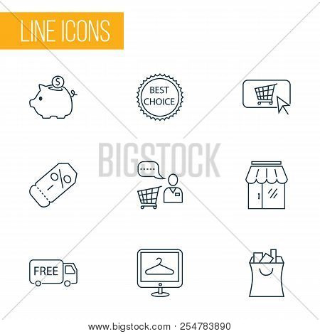 Commerce Icons Line Style Set With Savings, Storefront, Shopping Bag And Other Piggy Bank Elements.