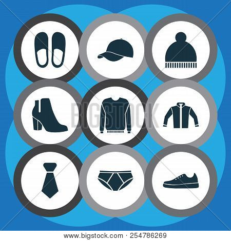 Garment icons set with gumshoes, jacket, necktie and other tie elements. Isolated  illustration garment icons. poster