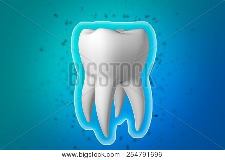 Teeth Protection. Protective Shell Shield Around A White Healthy Tooth On A Blue Background. Protect