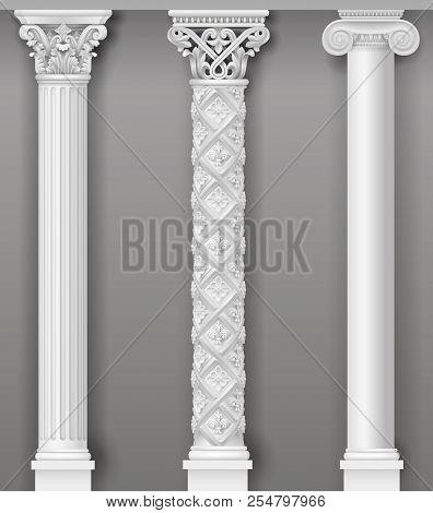 Classic Antique White Columns In Vector Graphics