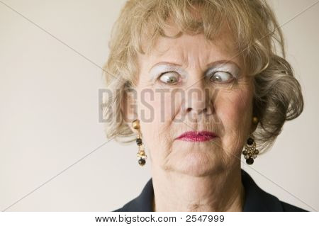 Senior Woman With Crossed Eyes