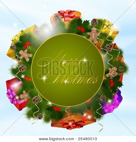 Christmas greeting card with gift boxes. Vector eps10 illustration poster