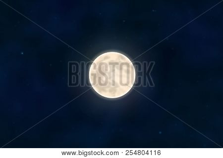 Full Yellow Moon With Star Isolated On Dark Night Sky Background. Closeup Moon Light Effect. Glow Mo