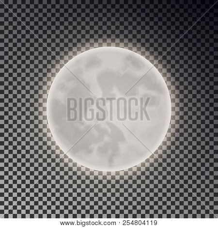 Full White Moon Isolated. Dark Night Sky Background. Closeup Moon Light Transparent Effect. Glow Moo