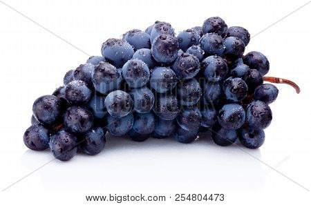 Blue Grapes Wet Isolated On White Background