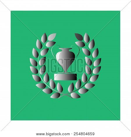 Silver Cup Award Sign. Modern Colorful Symbol Of Victory, Award Achievement Sport. Insignia Ceremony