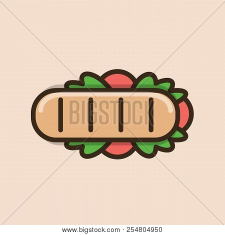 Long Ciabatta Sandwich With Meat And Salad Leaves. Colorful Isolated Vector Icon In Flat Style With