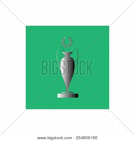 Silver Cup Award. Modern Colorful Symbol Of Victory, Award Achievement Sport. Insignia Ceremony Awar